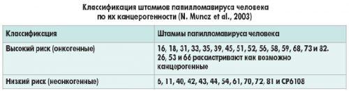 Таблица типов ВПЧ