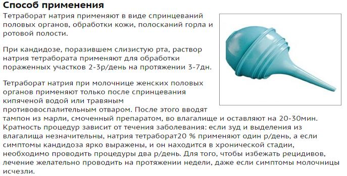 Натрия тетраборат инструкция по применению при молочнице