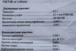 Состав вагинальных таблеток Тержинан