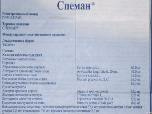 Форма выпуска и состав препарата Спеман