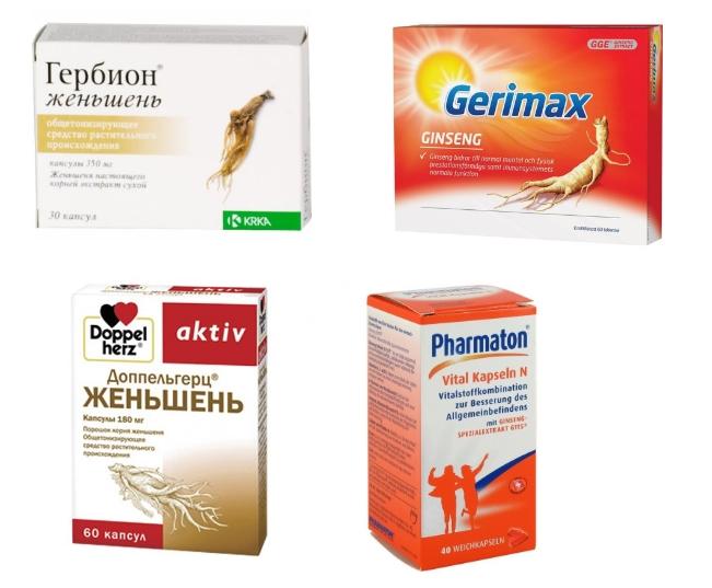 Популярные препараты на женьшене